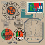 Travel stamps or symbols set, Portugal theme Stock Photo
