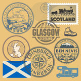 Travel stamps or symbols set, Scotland theme Stock Image