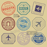 Travel stamps or symbols set South America airport theme Stock Image