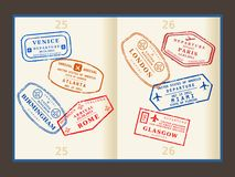 Travel stamps. Various colorful visa stamps (not real) on passport pages. International business travel concept. Frequent flyer visas Royalty Free Stock Photo