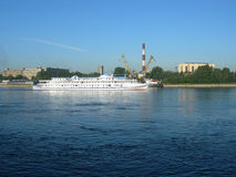 Travel by the steam-ship on the river. Royalty Free Stock Images