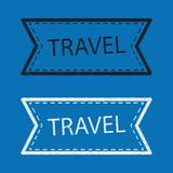 Travel Sticker Or Button - Vector Scribble Illustration - Differ. Ent Color Set Stock Photo