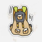 Travel sticker of colorful camping hand draw backpack. Tourist retro back pack vector illustration. Classic styled Stock Photos
