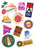 Travel sticker. World country travel landmark icon sticker set Stock Photography