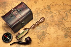 Travel Still Life With Different Objects On Old Vintage Map Royalty Free Stock Photography