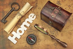 Travel Still Life Objects On Vintage Old Map Background Stock Photography