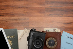 Travel Still Life on Wood Table Stock Image