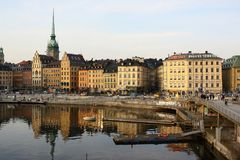 Travel in Stockholm, Sweden. Across the bridge. beautiful harbour/ scene. sightseeing in Europe Royalty Free Stock Photo