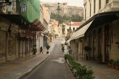 Travel through the streets of Athens royalty free stock photography