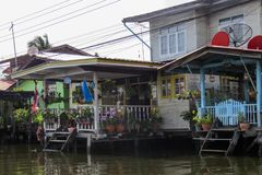 Travel through the streets-channels of the urban area. Houses of locals. Bangkok, Thailand, November 22, 2016. Travel through the streets-channels of the urban royalty free stock image