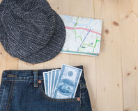 Travel stuff on wooden Royalty Free Stock Photo