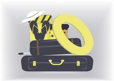 Travel stylish and glamorous suitcases,boxes in yellow and navy colours,beach hat and flip flops are ready for vacation to the stock illustration