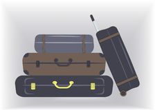 Travel stylish suitcases,boxes in brown and navy colours,are ready for vacation to the seaside or country or for business trip. Isolated on light grey royalty free illustration