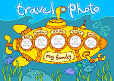 Travel in submarine. Travel photo in submarine, photo frame – my family Royalty Free Stock Image