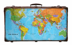 Travel suitcase. With world map Stock Image