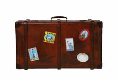 Travel suitcase. With city stickers