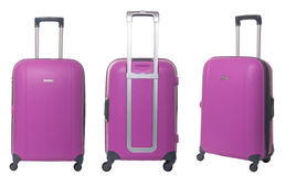 Travel suitcase. Pink travel suitcase collection isolated on white background Stock Photography