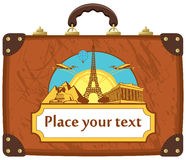 Travel suitcase. With various tourist attractions Stock Photography