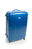 Travel suitcase. Blue modern travel suitcase  on white Stock Images