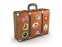 Travel Suitcase. With stickers. Clipping path included. Computer generated image Royalty Free Stock Image