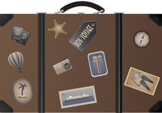 Travel suitcase. Travel suitcase with different stickers Stock Photo