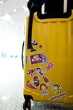 Travel suitcase. With sticker lovely in airport Royalty Free Stock Image