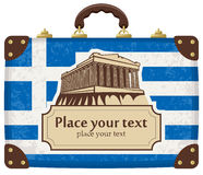 Travel suitcase. With flag of Greece and the Acropolis Royalty Free Stock Photos