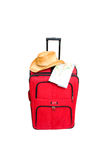 Travel with suitcase. Red suitcase with map on white background stock photos