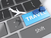 Travel suitcase and airplane on computer keyboard. Travel concep. 3d renderer illustration. travel suitcase and airplane on computer keyboard. Travel concept Royalty Free Stock Photo