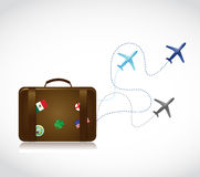 Travel suitcase and airplane routes illustration Royalty Free Stock Photo