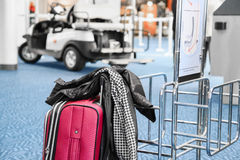 Travel suitcase at the airport Stock Photography