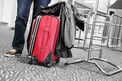 Travel suitcase at the airport Stock Image