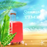 Travel Suitcase Background. Summer beach background with travel suitcase tropic leaves and seashells vector illustration Royalty Free Stock Photos