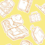 Travel Suitcase & Bag Sketch Seamless Pattern Royalty Free Stock Images