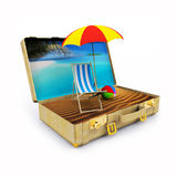 Travel Suitcase with Beach Chairs and Umbrella Royalty Free Stock Photo