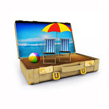 Travel Suitcase with Beach Chairs and Umbrella Royalty Free Stock Images