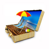 Travel Suitcase with Beach Chairs and Umbrella Stock Images