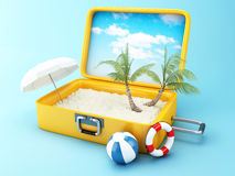 Travel suitcase. beach vacation concept Royalty Free Stock Photos