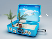 Travel suitcase. beach vacation. Image of Travel suitcase. summer vacation concept 3d illustration Royalty Free Stock Photo