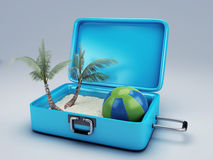 Travel suitcase. beach vacation Stock Photography