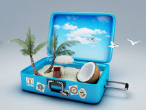 Travel suitcase. beach vacation. Image of Travel suitcase. summer vacation concept 3d illustration Stock Photos