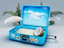 Travel suitcase. beach vacation Stock Image