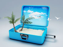 Travel suitcase. beach vacation Royalty Free Stock Photography