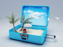 Travel suitcase. beach vacation Royalty Free Stock Images