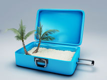 Travel suitcase. beach vacation Stock Photo