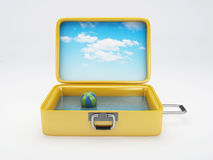 Travel suitcase. beach vacation.  white Royalty Free Stock Image