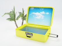 Travel suitcase. beach vacation.  white Royalty Free Stock Photo