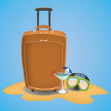 Travel suitcase on the beach with waterglasses. Tourist suitcase on the beach with a cocktail stock illustration