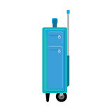 Travel suitcase blue slim with handle and wheels Stock Photo