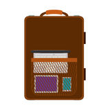 Travel suitcase brown with handle and pocket Stock Images